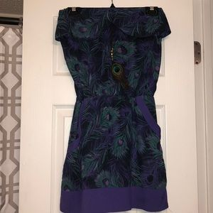 Strapless peacock feather dress
